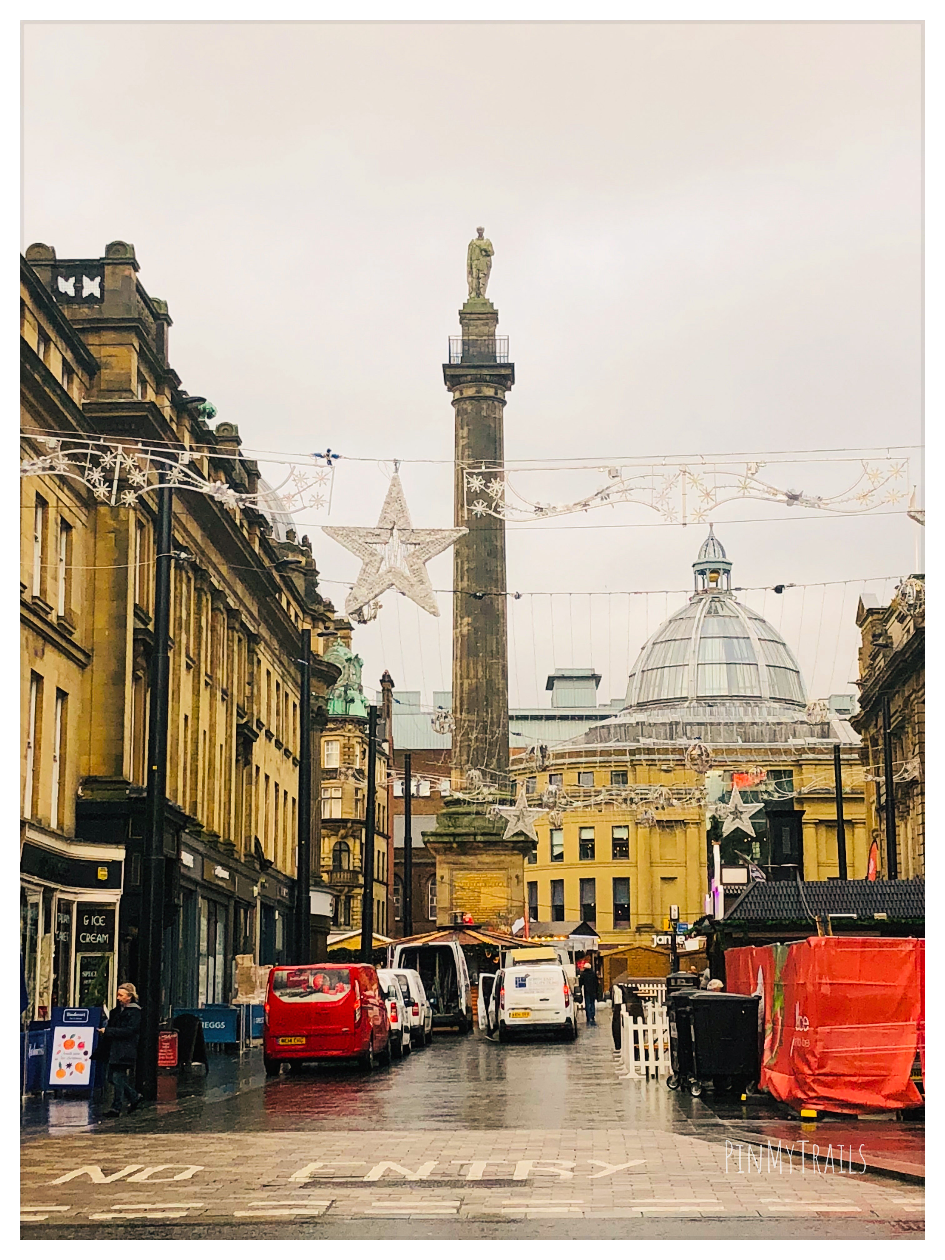 Grey's Monument in Newcastle during Christmas Market