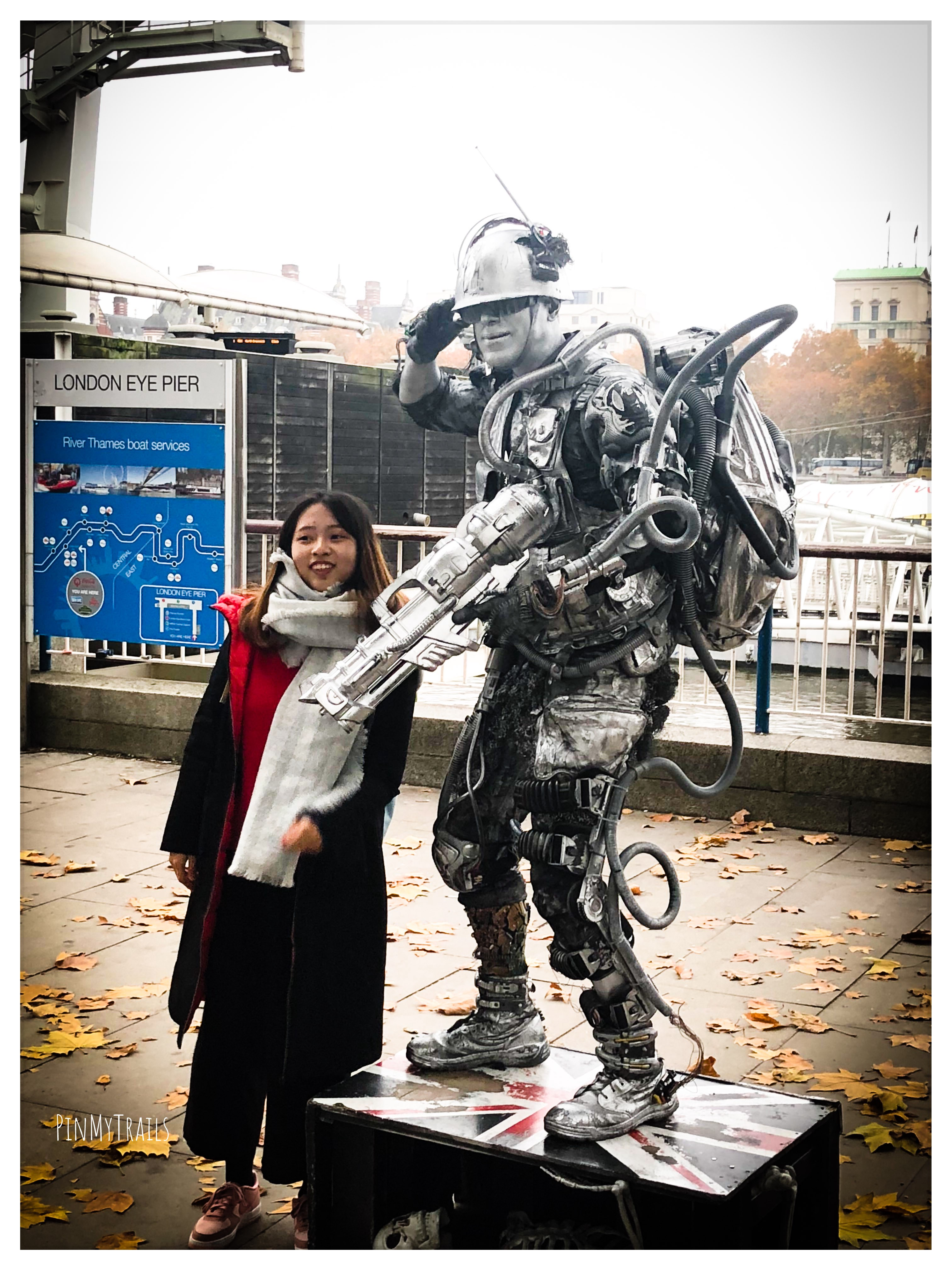 Street artist dressed as a space soldier